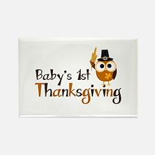 Baby's 1st Thanksgiving Owl Rectangle Magnet (100