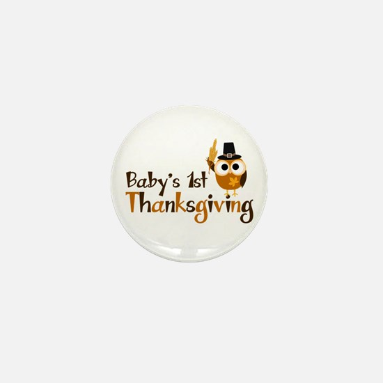 Baby's 1st Thanksgiving Owl Mini Button (10 pack)