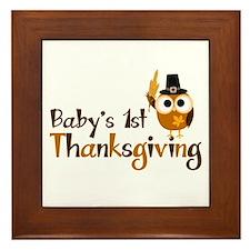 Baby's 1st Thanksgiving Owl Framed Tile