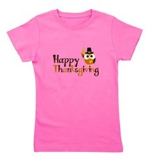 Happy Thanksgiving Owl Girl's Tee