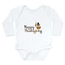 Happy Thanksgiving Owl Long Sleeve Infant Bodysuit