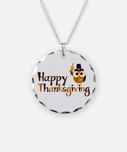 Happy Thanksgiving Owl Necklace