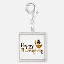 Happy Thanksgiving Owl Silver Square Charm