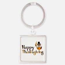 Happy Thanksgiving Owl Square Keychain