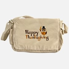 Happy Thanksgiving Owl Messenger Bag