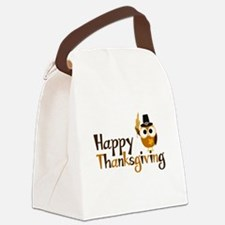 Happy Thanksgiving Owl Canvas Lunch Bag