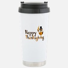 Happy Thanksgiving Owl Stainless Steel Travel Mug