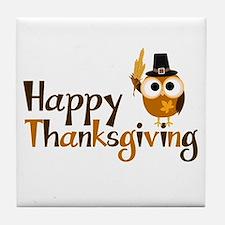 Happy Thanksgiving Owl Tile Coaster
