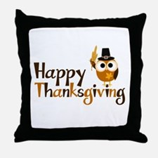 Happy Thanksgiving Owl Throw Pillow