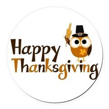 Happy Thanksgiving Owl Round Car Magnet