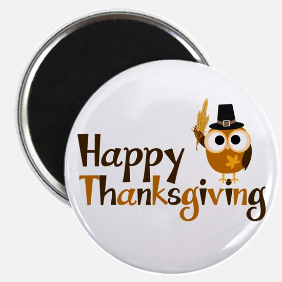 Happy Thanksgiving Owl Magnet