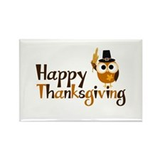 Happy Thanksgiving Owl Rectangle Magnet