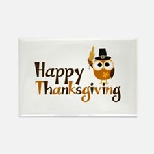 Happy Thanksgiving Owl Rectangle Magnet (10 pack)