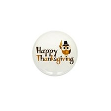 Happy Thanksgiving Owl Mini Button (100 pack)