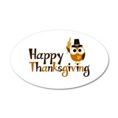 Happy Thanksgiving Owl 35x21 Oval Wall Decal