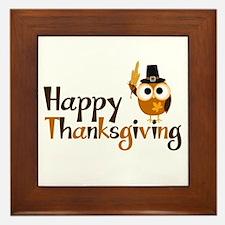 Happy Thanksgiving Owl Framed Tile