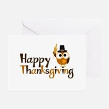 Happy Thanksgiving Owl Greeting Card
