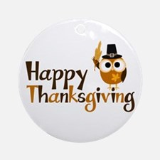 Happy Thanksgiving Owl Ornament (Round)