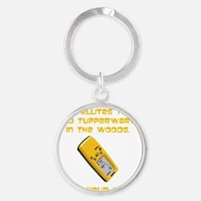 Dry GeoCache Tupperware Yellow Round Keychain