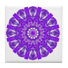 Purple Fire Wheel Mandala Tile Coaster