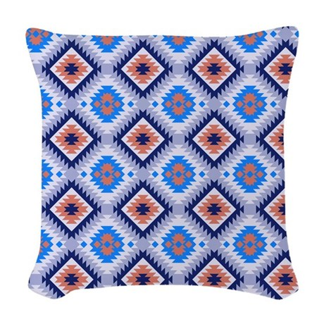 Blue Aztec Throw Pillows : Blue And Brown Aztec Woven Throw Pillow by GraphicAllusions