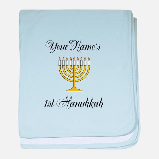 Custom 1st Hanukkah baby blanket