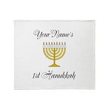 Custom 1st Hanukkah Throw Blanket