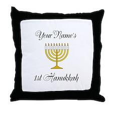 Custom 1st Hanukkah Throw Pillow