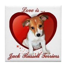 Jack Russell Heart Tile Coaster