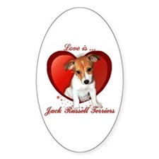 Jack Russell Heart Oval Decal