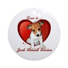 Jack Russell Heart Ornament (Round)
