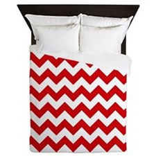 Red And White Chevron Pattern Queen Duvet