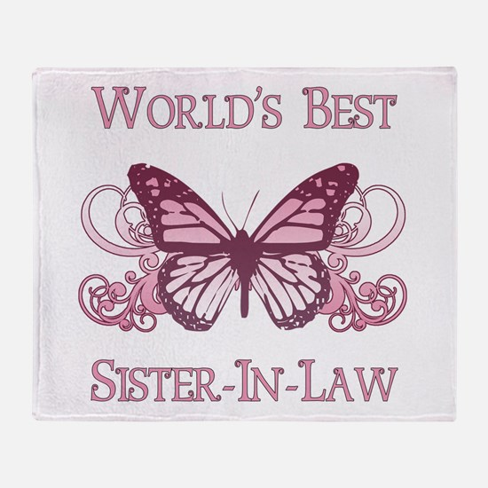 World's Best Sister-In-Law (Butterfly) Throw Blank