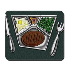 8-TV Dinner Tray Cooked Frozen Meal Knif Mousepad