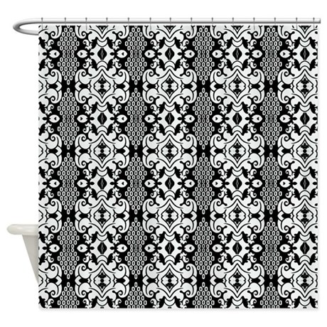 Black And White Vintage Damask Shower Curtain By