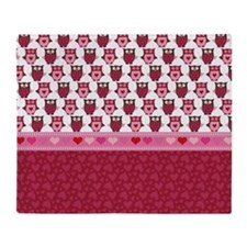 Heart and Owls Throw Blanket