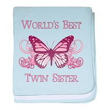 World's Best Twin Sister (Butterfly) baby blanket