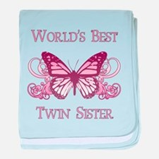 World's Best Twin Sister (Butterfly) baby blanket