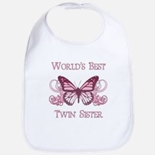 World's Best Twin Sister (Butterfly) Bib