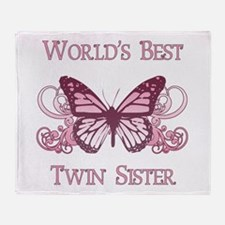 World's Best Twin Sister (Butterfly) Throw Blanket