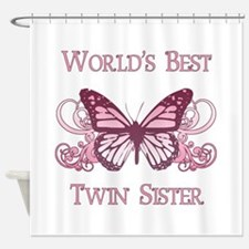 World's Best Twin Sister (Butterfly) Shower Curtai