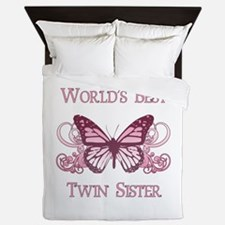 World's Best Twin Sister (Butterfly) Queen Duvet