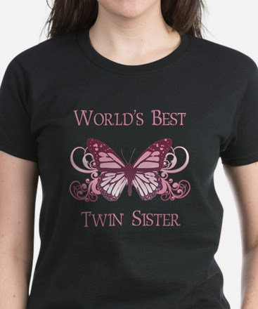 World's Best Twin Sister (Butterfly) Women's Dark