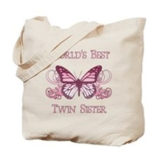 World's Best Twin Sister (Butterfly) Tote Bag