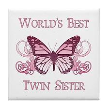 World's Best Twin Sister (Butterfly) Tile Coaster