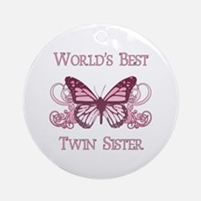 World's Best Twin Sister (Butterfly) Ornament (Rou