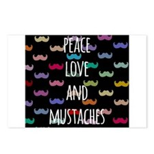 Peace Love and Mustaches Postcards (Package of 8)