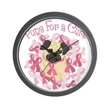 Pugs For A Cure Breast Cancer Pug Wall Clock