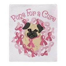 Pugs For A Cure Breast Cancer Pug Throw Blanket