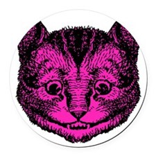 Cheshire Cat Pink Fill Round Car Magnet